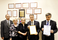 Handing certificate ISO 9001: 2008 over to the PERCo factory, 2010
