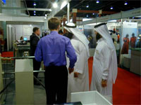 Demonstration compact tripod turnstile PERCo at the exhibition. Dubai, UAE.