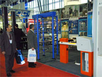 Full height turnstile and PERCo-PARKING at the International Forum «Security and Safety Technologies 2004». Moscow, Russia.