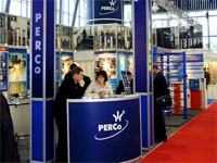 PERCo exhibition stand at the International Forum «Security and Safety Technologies 2004». Moscow, Russia.