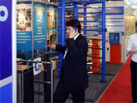 PERCo turnstiles at the International Forum «Security and Safety Technologies 2004». Moscow, Russia.