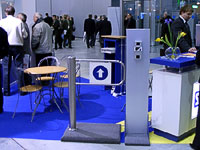 New PERCo wicket gate at stand of Suritel. Moscow, Russia.
