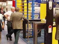 Box PERCo turnstiles at the exhibition for security IFSEC-2006. Birmingham, UK.