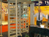 Full-height turnstiles and tumbovy at the exhibition for security IFSEC-2007, England