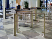 PERCo TTD-03.1 box tripods and WMD-04S automatic wicket gates at The Glasgow City Council Scotstoun Leisure Centre, Scotland, the UK. Installation by Directional Data Systems Ltd., Scotland