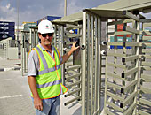 PERCo RTD-15.1 full height rotor turnstiles installed at Jebel Ali port, Dubai city (the U.A.E.). Installation by ONE Security