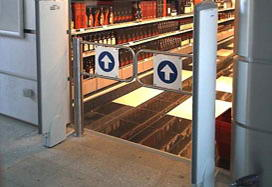 PERCo automatic swing gates installed in the Duty Free shop. St. Petersburg-Pulkovo 2 International Airport, RF