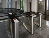 TTD-03.1S box tripods with black artificial stone top covers at entrance of business centre. Kiev, Ukraine
