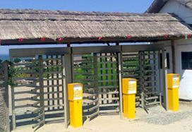 "RTD-15 full height turnstiles and modified RTC-15 canopy at the entrance to ethnographic museum ""Ataman"", Kuban, Krasnodar region"