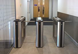 Box tripod turnstile TB-01A and WMD-06 swing gate, NewDay Company office, Leeds, UK