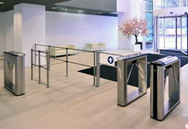 "TBC-01 and TTD-03.1S box tripod turnstiles, WMD-05 swing gate and BH-02 railings, business-center ""Vodny"", Moscow"