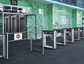 TTD-03.1 box turnstiles and BH-02 railings, Diamond Hall business-centre, Moscow