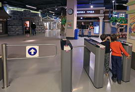 "TTD-03.1 box tripod turnstiles and WMD-05 swing gate, kids town ""Kidburg"", Moscow"