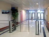 "TTD-03.1S box tripod turnstiles and BH-02 railings, Business-center ""Na Kosoy"", Saint Petersburg"