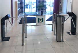 TTR-04.1 tripod turnstiles, IC03 card capture reader and BH02 railings, Fidel business-centre, Saint Petersburg