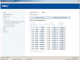 PERCo IP-based access control system software adjustment sample screenshot