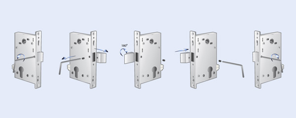 Mortise lock latch bolt orienting options