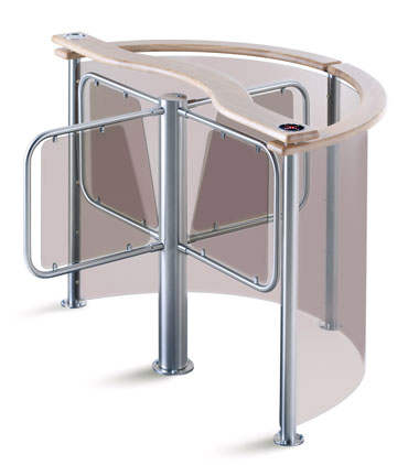 RTD-03S Waist-high Rotor Turnstile with RB-03TP guide barrier set